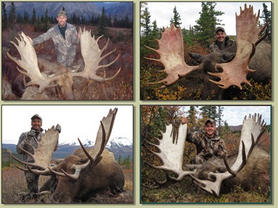 hunters with moose antlers